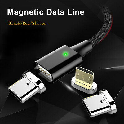 TOPK Braided Magnetic LED Micro Type-C USB Charger Charging Cable For Android
