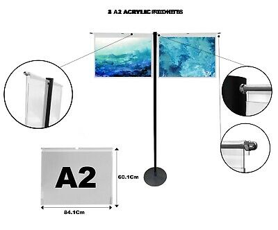 Hook On Over Acrylic Pockets Display Steel Stand A2 Landscape exhibition office