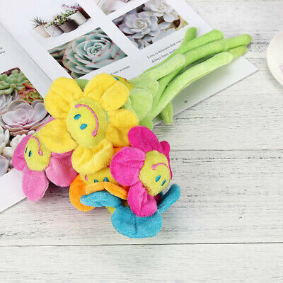 Colorful Plush Daisy Flower With Faces Bendable Stems Sunflower Washable Toy New