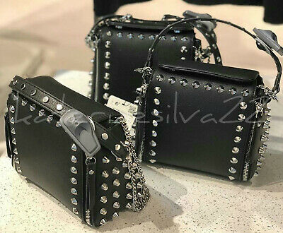 a3b9bea36c5 NEW WITH TAGS Zara Black Leather Crossbody Bag Chain Link Detail Ref ...