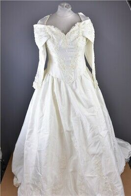 Ivory Full Length Wedding Dress Embellished with Lace, Beads and Sequins Size 14