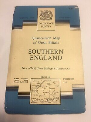 Vintage Ordnance Survey Quarter Inch Map Of Southern England, Sheet 16 From 1962