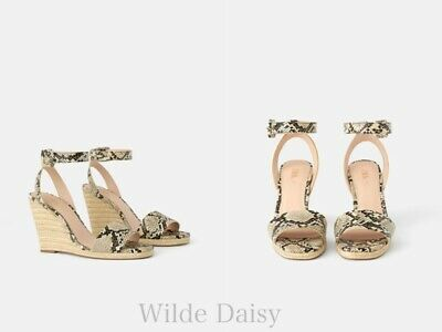 84be74e67d Zara New Animal Print Wedges With Ankle Straps Snakeskin Jute Straps Size  Uk 2-9