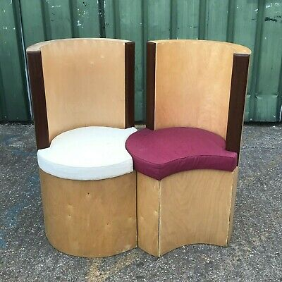 Pair of 2x prototype loveseat accent statement chairs / hall seats with seatpads