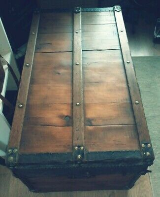 Antique pine chest steamer trunk