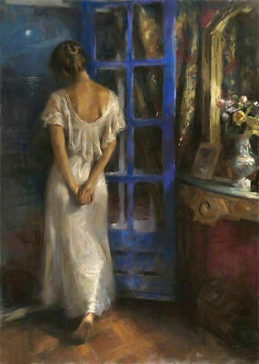 ZWPT987 hand The girl who watches the night scene  oil painting art on Canvas