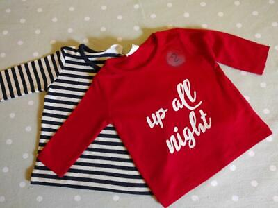 Next Baby Boy 'Up All Night' Pack Of 2 Tops Up To 1 Month BNWT!!