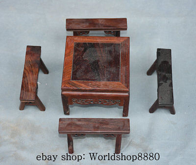 "4"" Collect Rare Chinese Redwood Carving Delicacy Small Table 4 Bench Set"