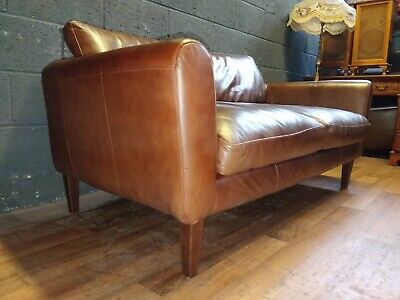 Laura Ashley  Danish Chesterfield Antique Brown Leather Cottage Sofa