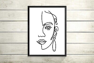 Abstract face line drawing Fashion Face - Art Print Wall Poster Home Decor print