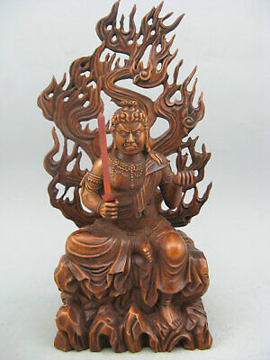 Antique old Boxwood Hand carved Tibetan Buddha Collectable Statue