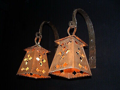 Vintage French Arts and Crafts copper and wrought iron sconces France
