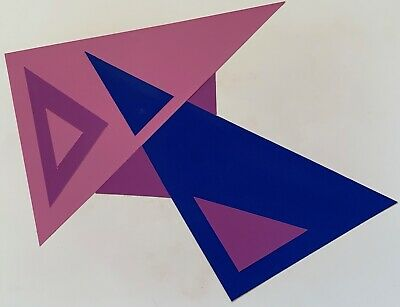 Vintage Abstract Geometric Paper Art Collage Wall Hanging Mid Century Modern - 6