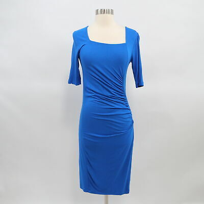 Isabella Oliver Maternity Sheath Dress Womens Ruched Stretchy Royal Blue T2 US 6