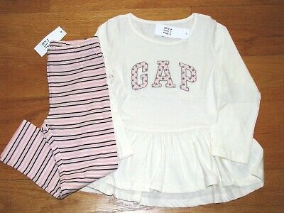 4c12dd4927927c NWT BABY GAP Girl's L/S Logo Tunic Top/Leggings Outfit Size 4T/4Yrs ...