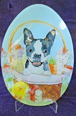 BOSTON TERRIER GLASS EASTER PLATE Egg Shape & Easter Theme
