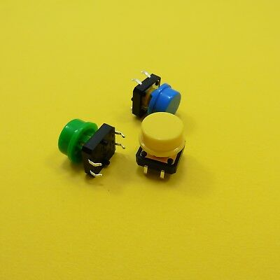 Push Buttons Cap and B3F-4055 Tact Switch 12mm x 12mm x 7.3mm Tactile Momentary