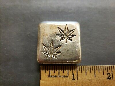 3 oz .999 FINE SILVER POURED BAR - HAC MINT, CANNABIS LEAF - #L955