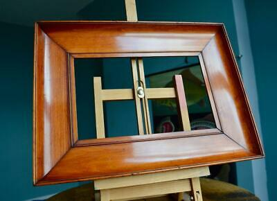 "Superb Antique Victorian Picture Frame 11"" X 7"" Rebate Bevelled Mahogany Veneer"