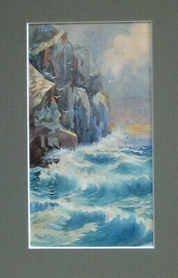 Original Signed Watercolour by Watters of Cliffs and Waves small