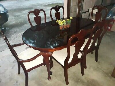 queen anne solid cherry dining set 2 captain chairs 4 side chairs, leaf & cover