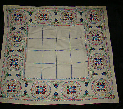 """Vtg Antique Amish? PA Dutch? Hand Embroidered Square Table Cloth 32"""" x 30"""""""