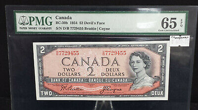 Canada 1954 Devils face $2 Beattie/Coyne changeover note PMG65. A006