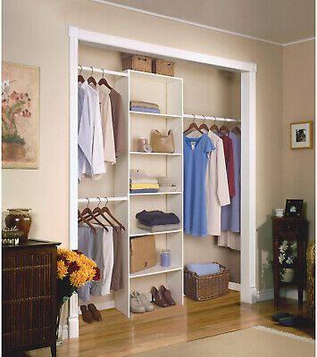 BEDROOM CLOSET ORGANIZER Vertical Clothing Storage Kit Wood ...