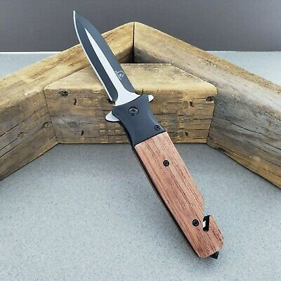 "8.5"" Spear Point Spring Assisted Open Pocket Folding Knife With Wood Handle"