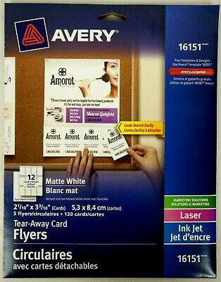 Avery Tear-Away Card Flyers - Mate White AVE16151 -  5 Flyers 120 Cards Ink-Jet