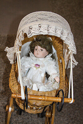 Vintage Doll Carriage Buggy Baby Wicker/Rattan Wood Wheels Includes Doll