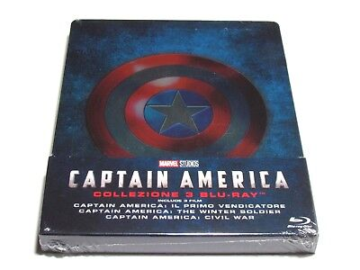 Captain America Trilogy Blu-Ray Collection Steelbook Limited Edition Import