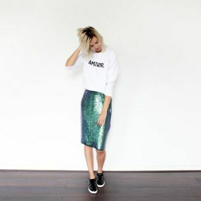2b226b9a7b H&M Teal Mermaid Fish Scale Sequined Straight Pencil Skirt Blogger Fave Size  2 S