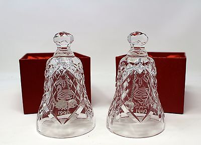 Waterford Crystal Bell 12 Days of Christmas 7 Swans Swimming 1990 Lot Of 2