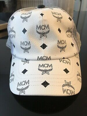 ad1bca367 MCM MENS WHITE & Black Leather Visetos Mesh Adjustable Hat With Tags See  Photos