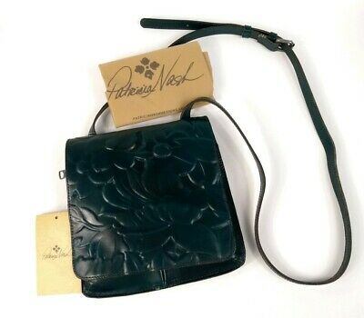 Patricia Nash Granada Teal Blue Green Embossed Floral Leather Crossbody NWT $149