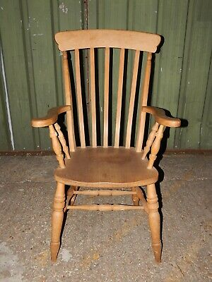 Vintage Novoles solid wood high back windsor grandfather armchair dining chair