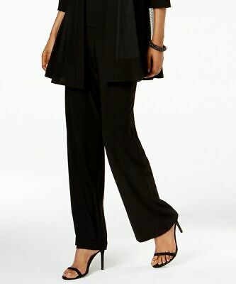 $190 R&M Richards Women'S Black Pull-On Style Straight Wide Leg Pants Size 14
