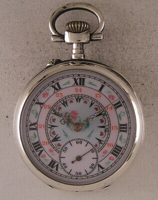 Serviced ORIGINAL Cylindre 1900 French Two Dials SILVER Pocket Watch MINT