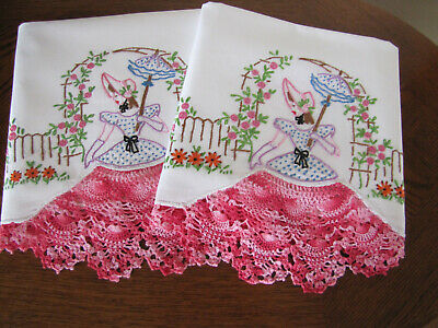 Vintage Pair of Pillowcases Southern Belles Embroidered Crocheted Exquisite Wow