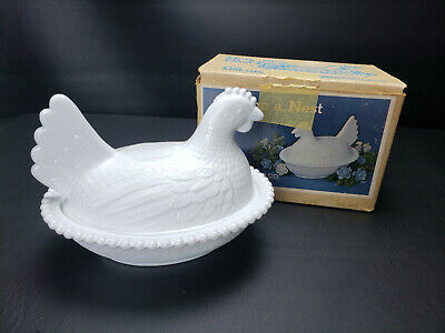 Indiana WHITE MILK GLASS Beaded Chicken Hen on Nest Covered Candy Dish W/ Box