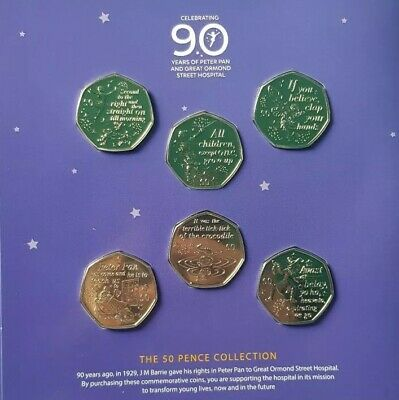ISLE OF MAN 2019 PETER PAN 50p 6 COIN COMPLETE SET BU 90th ANNIVERSARY