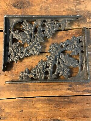 Vintage Antique Cast Iron Shelf Brackets Oak Acorn Leaf Pattern 6.5  4.5 inches