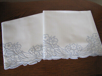 Vintage Pair of White Pillowcases Embroidered Scrolling Blue Cherry Blossoms Wow