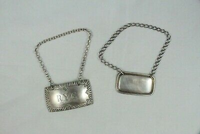 Two Vintage Sterling Silver Bottle Chain Tags RYE Decanter Label