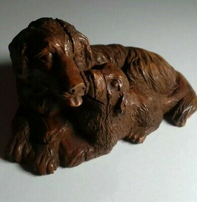 Chinese Hand Carved Boxwood Labrador Dog Puppy Netsuke Statue Figure Ornament