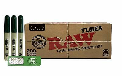 RAW Natural King Size Cigarette Tubes, Skunker Pen Stash(3 pens),& Grinder Card
