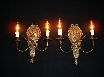 Old pair French bronze wall lamps sconces figures France