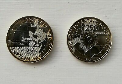 2018 and 2019 Captain James Cook  £2 Two Pound coins. Both Uncirculated.
