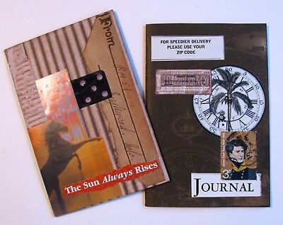 Handmade Notebook Junk Journal Blank Book Collage Covers Lot of 2 E